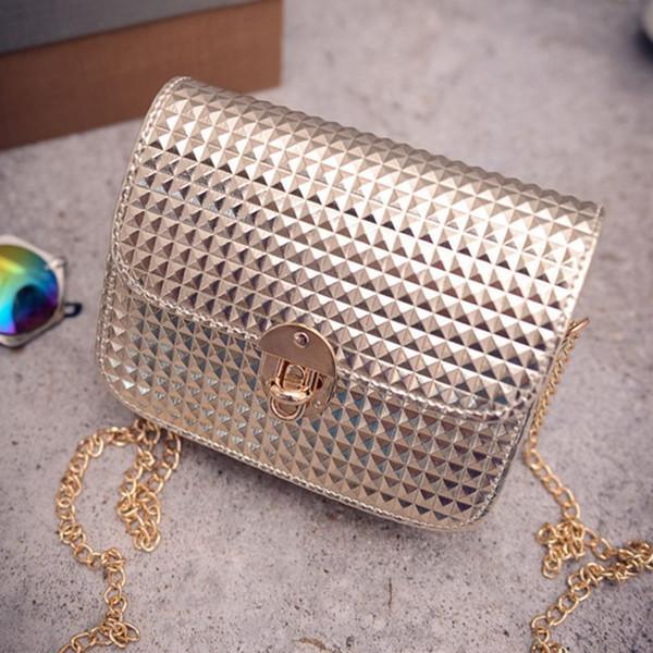 2019 High End Shimmer Korean Fashion Style Mini Bags Diamond Shapes Chains Flap Single Shoulder Lady Small Square Mini Handbag