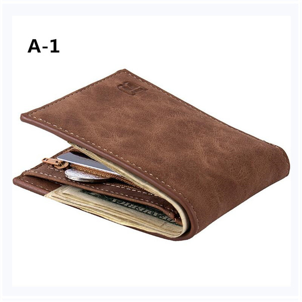 Fashion Men Wallets Mens Wallet with Coin Bag Zipper Small Money Purses New Design Dollar Slim Purse Money Clip Wallet B0374