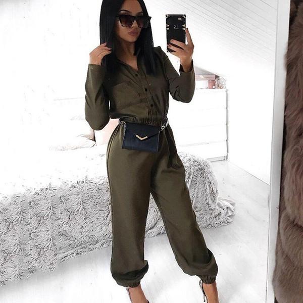Mujeres Primavera Otoño Moda Monos 2019 Nueva llegada para mujer Cuello pico con botón Cinturón Pantalones largos enteros Monos Mujer Casual Mamelucos