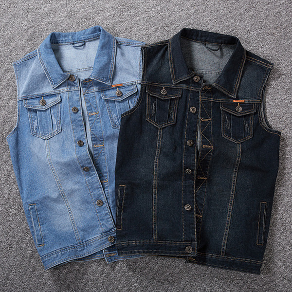 Big guy plus size M-5xl 6XL 7xl 8xl men denim vest Outerwear & Coats turn-down collar male vest tops big for 150 kg black