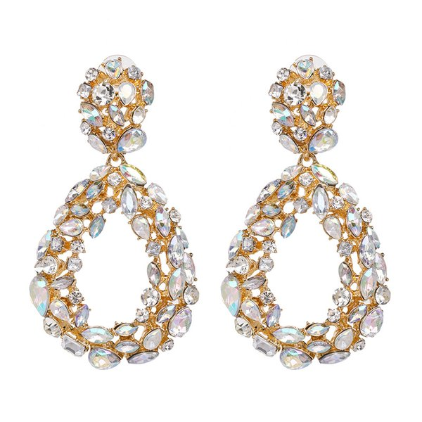 gold hoop earrings sales Coupons - Zinc alloy glass drill earrings for  women hoop style crossborder dcf1ab4c5f4c