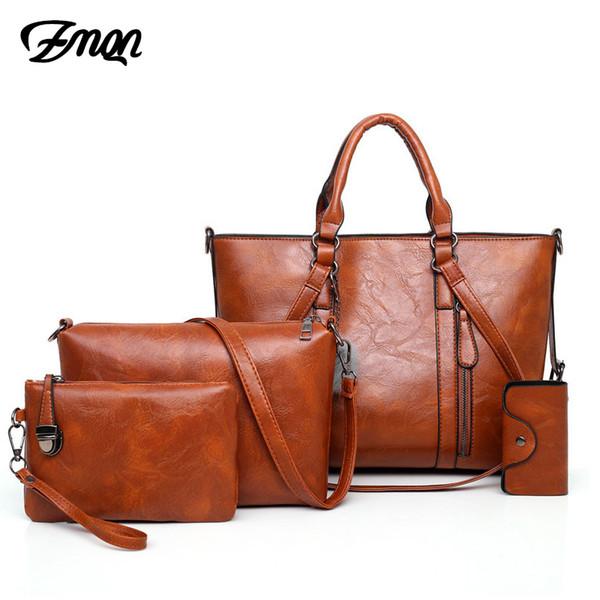 Zmqn donne di lusso borse e borse imposta 4 pezzi borse crossbody per le donne 2019 olio in pelle di cera grande borsa marca famosa C679 Y190620