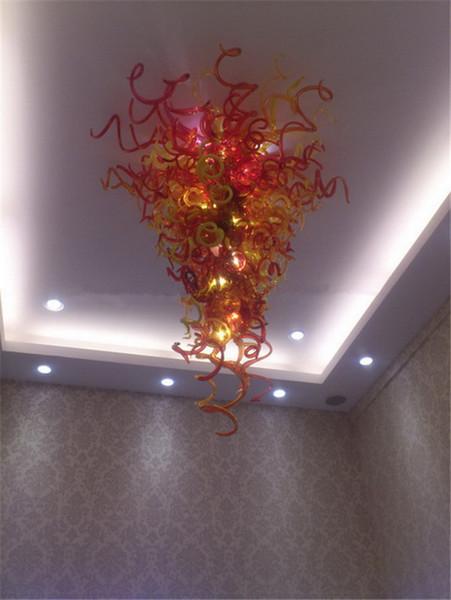 Spedizione gratuita Grandi e colorati appesi lampadario AC110V 220V Abbastanza in vetro soffiato alta del soffitto lampadario a sospensione a LED per la casa