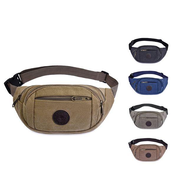 5styles Canvas Waist Pack Leisure Mobile Phone Zipper Storage Bags Shoulder Bag Wallet Purse jogging outdoor sport coin bags FFA1805