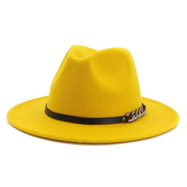 Hombres Mujeres Flat Brim Estilo Panamá Lana Fieltro Jazz Fedora Sombrero Gorra Caballero Europa Sombrero formal Amarillo Floppy Trilby Party Hat