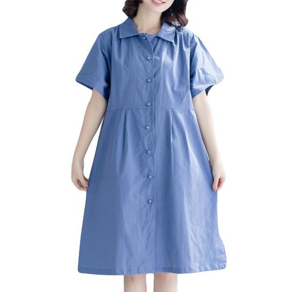 2019 new summer Fashion hot sweet Women Linen Knee Length Loose Linen Short Sleeve Pure Color Dresses vestidos de verano muje#F7