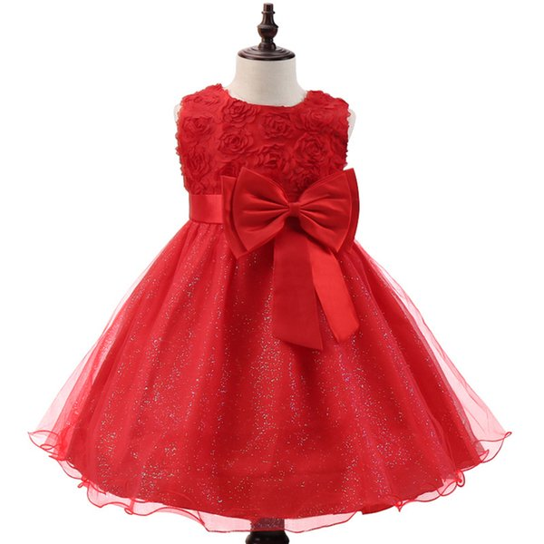 Christmas Baby Girls Dress For Evening Prom Party Costume Teenager Girls Kids Clothes Wedding Birthday Gown Little Girl Red Gown