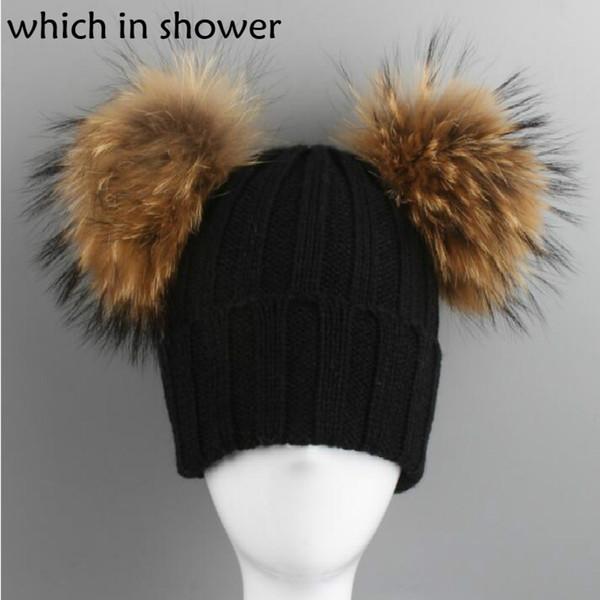 che in doccia Bambini Due Genuine Raccoon Fur Pompom Winter Hat Knit Pom Pom Ball Berretti Cap Boy Girl Cap con doppia palla
