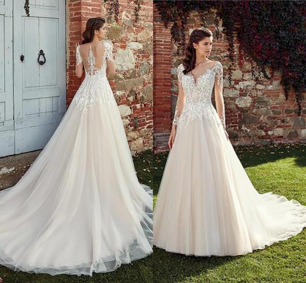 Gorgeous Jewel A Line Encaje Apliques Barrido de tren Botón cubierto Por encargo Pliegues Vestidos de novia Vestidos de novia de novia