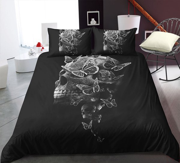 Thumbedding Skull Design Bedding Set Full size Duvet Cover Comfortable Black Bed Set With Pillowcases Adult Bedclothes 3pcs