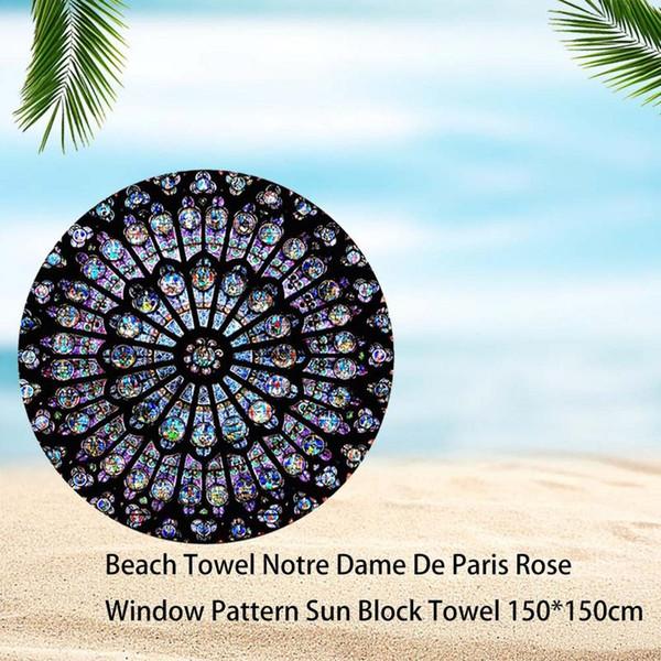 Toalla de playa Notre Dame De Paris Patrón de ventana rosada Toalla de bloqueador solar 150 * 150 cm Manta