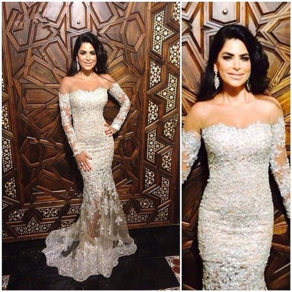 White Mermaid Prom Dresses 2019 Full Lace Appliques See Through Floor Length Arabic Dubai Prom Gowns Plus Size Custom Made DP0241