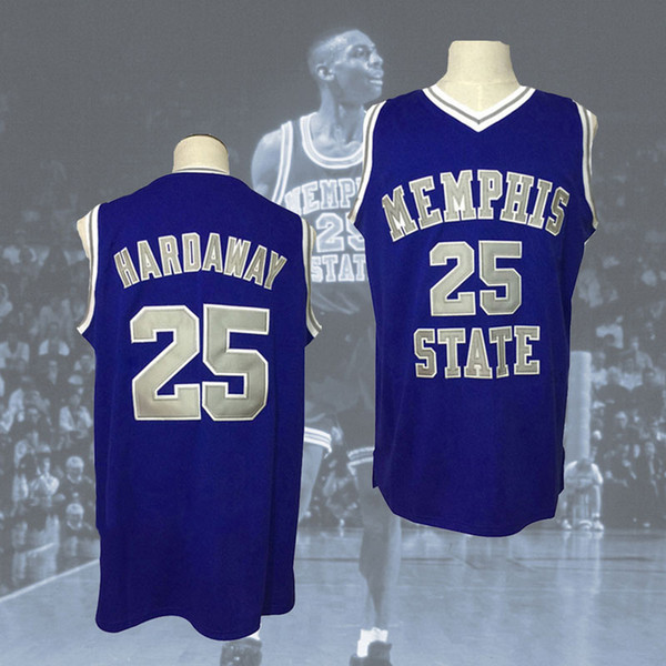 free shipping MEMPHIS STATE College JERSEY #25 PENNY HARDAWAY blue,White or customize Any number Men Stitched Jersey