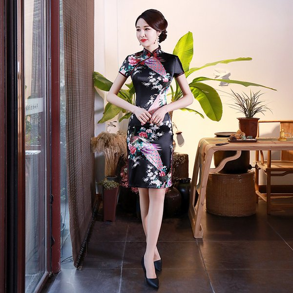 2019 New Women China Style Dresses Summer Fashion Short Sleeve Slim Printed Ladies Dress Plus Size S-6XL