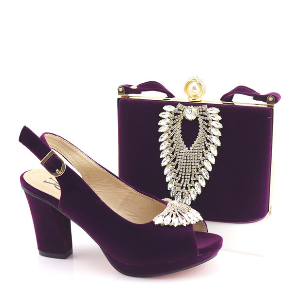 2019 New Purple Color Luxury High Quality Elegant Italian Shoes with Matching Bag Shoe and Bag Set African for Wedding Party