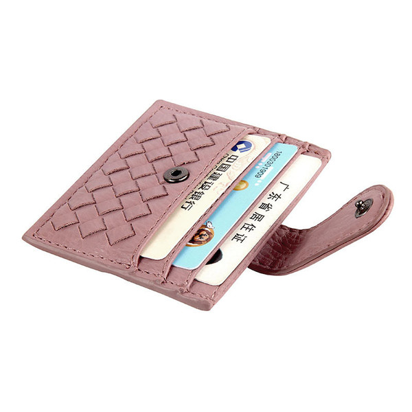 wholesale soft pu vegan faux leather custom color weave cheap fashion ladies woman designer bank credit gift thin card holder wallet