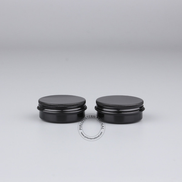 El tarro de aluminio negro excelente al por mayor 30g, contenedores cosméticos del metal vacío 30ml / 1oz, 50pcs / lot libera el envío