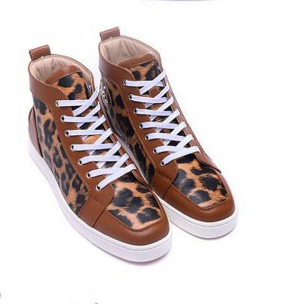 Envío gratis de lujo para hombre masculino zapatos inferiores rojos estampado de leopardo zapatillas de deporte para mujer High-top Causal Shoes Unisex zapatos de vestir planos