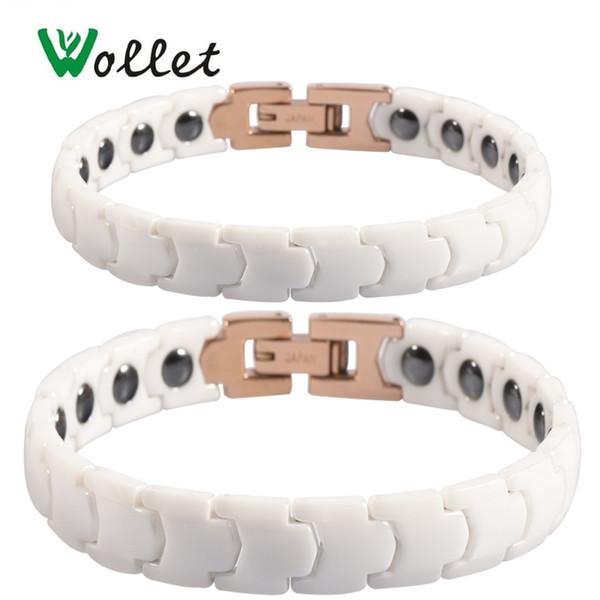 Bracelets magnétiques en céramique blancs pour hommes, femmes, style coréen, soulagement de la douleur pour hématite germanium arthritique