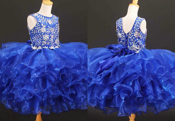 Sparkly Kraliyet Mavi Kristal Balo Küçük Kızlar Pageant elbise Organze Ruffles Jewel Sheer Boyun Korse Çiçek Kız İlk Communion Elbise