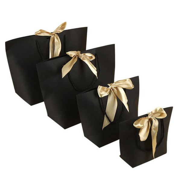 5 Colors Paper Gift Bag Boutique Clothes Packaging Bags with Bow Ribbon Elegant Gift Package Shopping Bags for Celebration Present Wrap