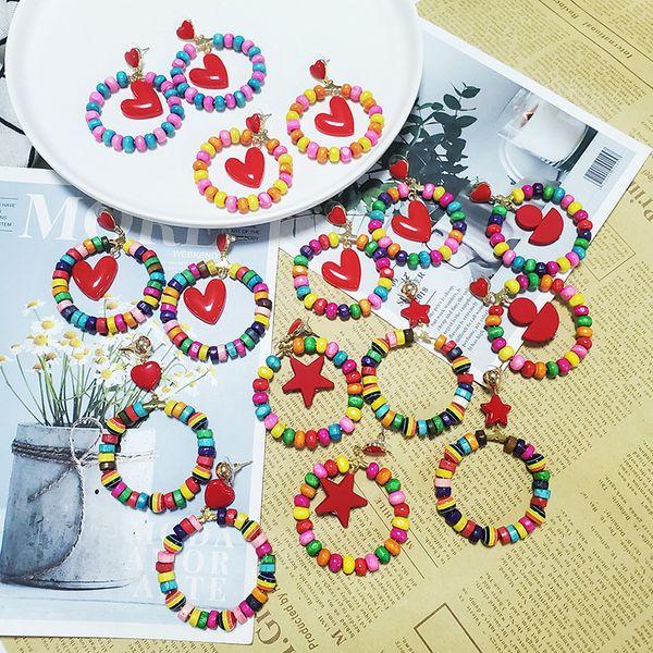 gereit 2019 european geometric loop of earrings colorful irregular resin bead hoop earrings for girls star heart pendant earring