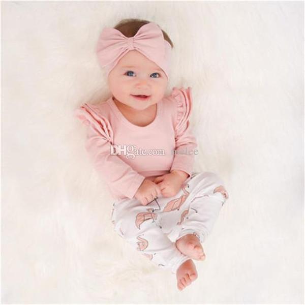 3 ADET Set Sevimli Bebek Kız Giysileri Bahar Yürüyor Çocuk Tops + Flamingo Baskı Pantolon Tayt Bandı Çocuk Kız Giyim Seti