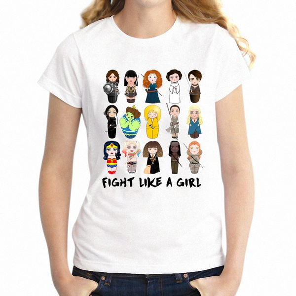 Women's T Shirt Kokeshis Fight Like A Girl Feminism Feminist Artsy Girl's Tee