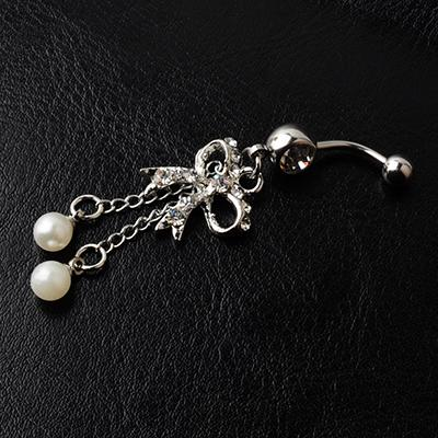 D0050 ( 2 colors ) Nice style bowknot Navel Belly ring 20 pcs CLEAR color stone drop shipping factory price