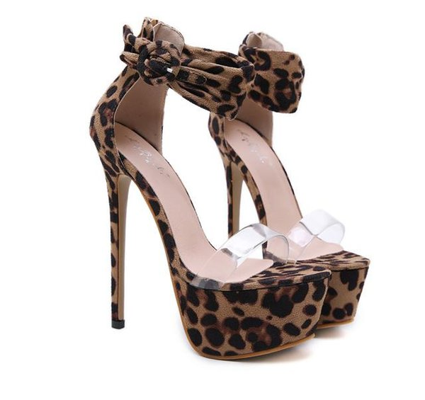 16cm Sexy ankle strappy leopard animal prints platform high heel pumps shoes synthetic suede size 34 to 40
