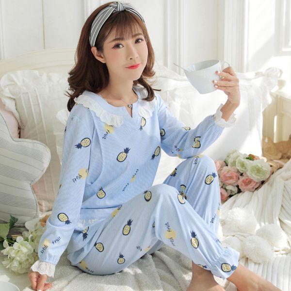 2018 Maternity Breastfeeding Sleepwear Nursing Pajamas 2pcs Set Long Sleevee Cotton Clothes Pregnant Women Pajamas Suits