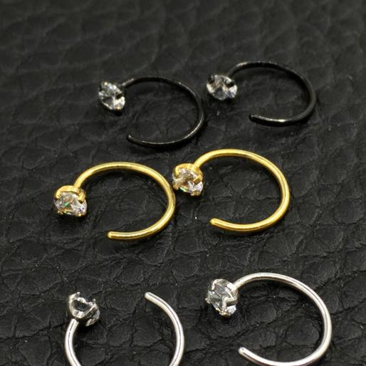 wholesale Zircon Nose Ring U shaped Horseshoe ring piercing jewelry BCR eyebrow nail Lip Clear Gem 316L Stainless Steel Black Gold