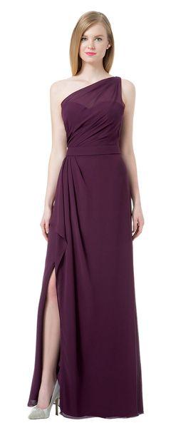 Grace Grape Chiffon One Shoulder Junior Bridesmaid Dresses Bridesmaid Wedding Dresses Party Prom Dresses Custom Size 2-18 KF101431