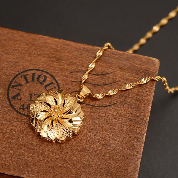 Dubai PENDENTE Collana pendente donne collana 18 k oro giallo reale giallo FINISH ragazze partito gioielli Africa / arabo fiore regali