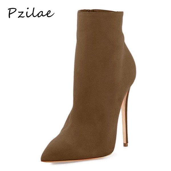 Pzilae 2019 high fashion boots pointed toe ladies dress boots super high heels shoes zipper plus size sexy ankle for women