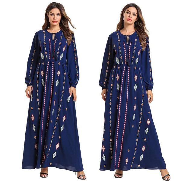 Vintage Étnico Bordado Mulheres Vestido Longo Maxi Abaya Swing Robe Muçulmano Kaftan O Pescoço Com Cordão de Manga Longa Roupas Islâmicas