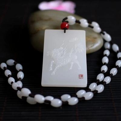 Природные Жадест резные whitefire Кирин кулон ожерелье личности мужчины и женщины свитер цепи могут быть настроены надписи