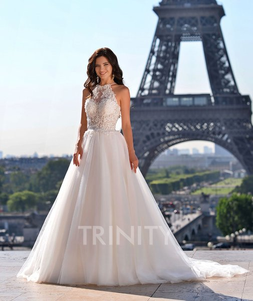 Beauty Ivory Tulle Halter Applique Beads A-Line Wedding Dresses Bridal Pageant Dresses Wedding Attire Dresses Custom Size 2-18 KF1228317