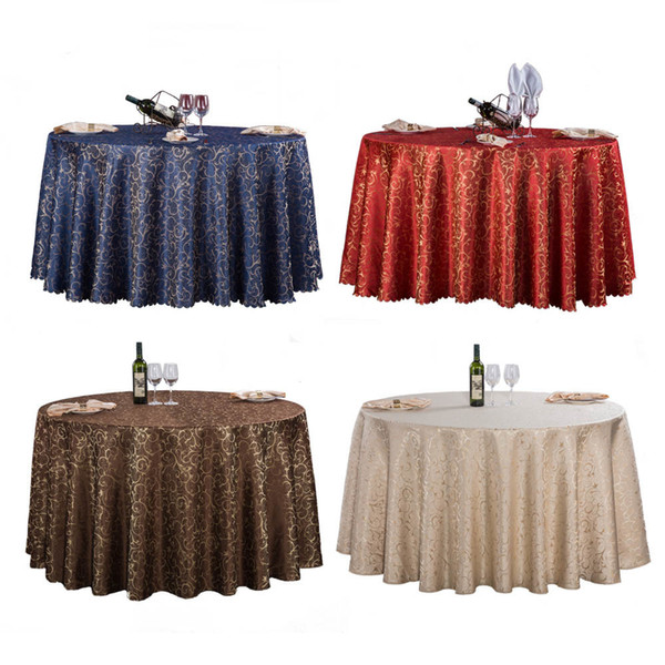 1pc Red/blue/coffee 7 Colors Europe Luxury Polyester Gold Leaf Tablecloth Round For Wedding Party Decor Hotel Table Cloth Cover Y19062103