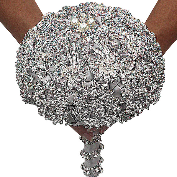 2019 Luxurious Crystal Brooch Bouquet Ivory Gray Crystal Beading Bouquet Satin Wedding Flowers Bridal Bouquets Wedding Accessories