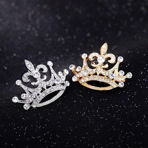 Crystal Crown style Broche Vintage haut de gamme des accessoires de goût métal broche sauvage vintage