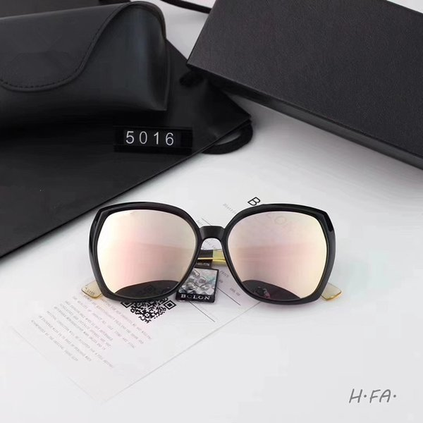 New sunglasses female personality plate sunglasses large frame trend glasses polarized lens plate gold combined frame model: 5016 color: 3