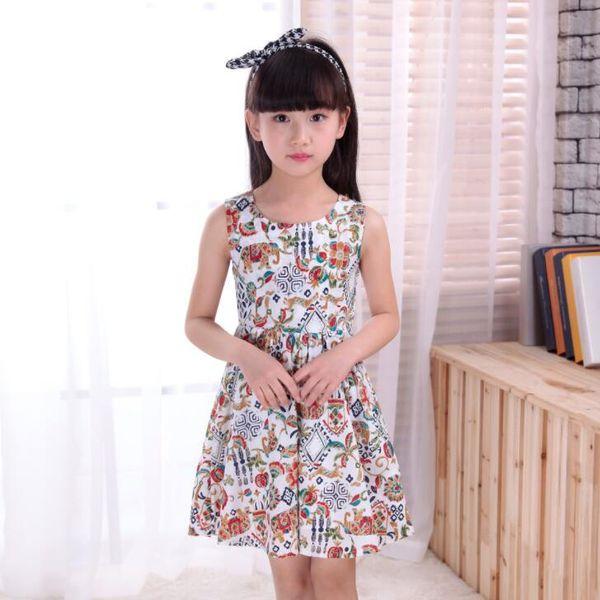 New Girls Longuette cotton Broken flowers Dress Dresses Girl Prom Dresses Summer Princess Dress best quality 4-21 lw37