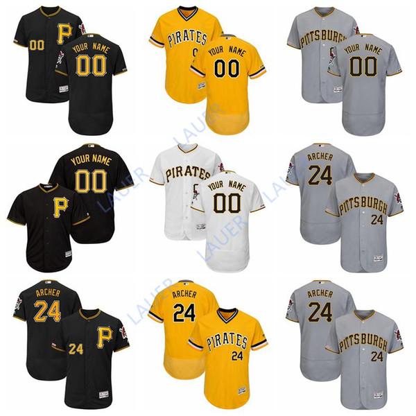 factory price ce4dd 43a6b 2019 Custom Pittsburgh Baseball Pirates Jersey Majestic 24 Chris Archer 24  Bonds 8 Willie Stargell 6 Starling Marte Flex/Cool Base Jerseys From Lauer,  ...