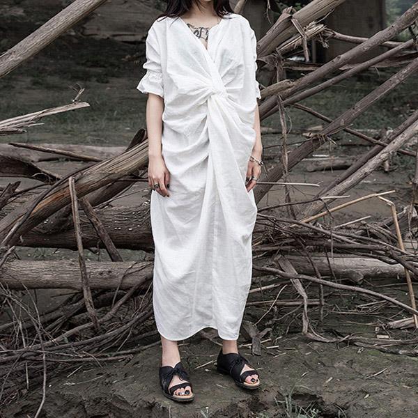 2019 Donne di stile coreano Solid White Summer Casual Dress lungo con scollo a V rugoso Design Lady Unico Wear Dress semplice Vestidos F1033
