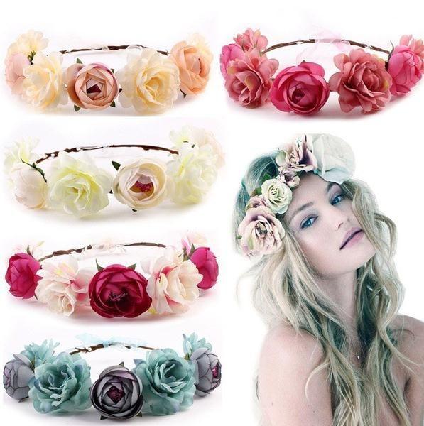 5 Farben Neue Böhmen Handgemachte Blume Krone Hochzeit Kranz Braut Kopfschmuck Stirnband Hairband Haarband Zubehör DC088