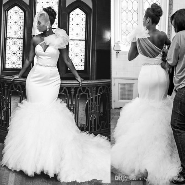 Black Girl African Wedding Gowns Sweetheart Shoulder Flower Sash Mermaid Wedding Dresses Plus Size Ruffles Sweep Train