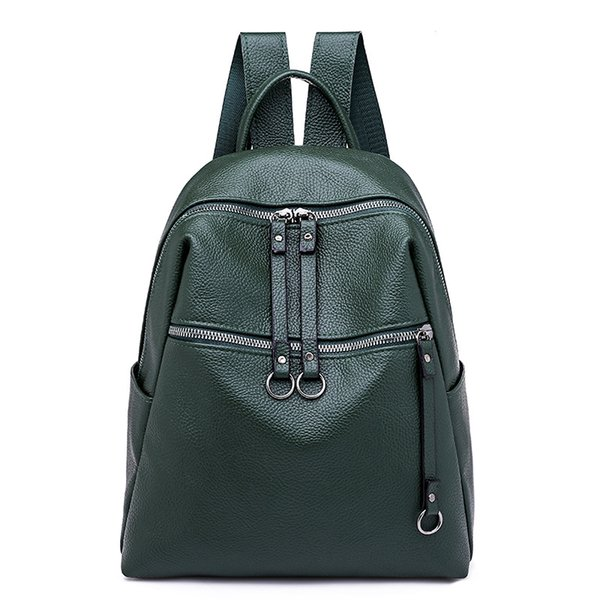 Backpack female 2019 new wave Korean version of wild fashion soft leather ladies student bag color backpack