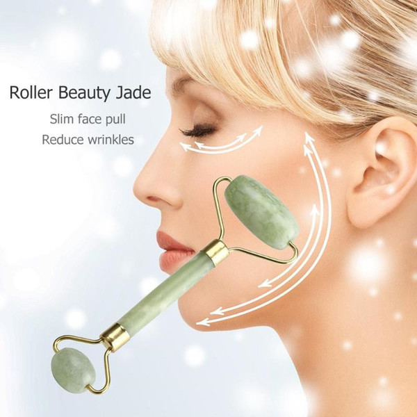 Health natural facial beauty ma age tool jade roller face thin ma ager face lo e weight beauty care roller tool t248