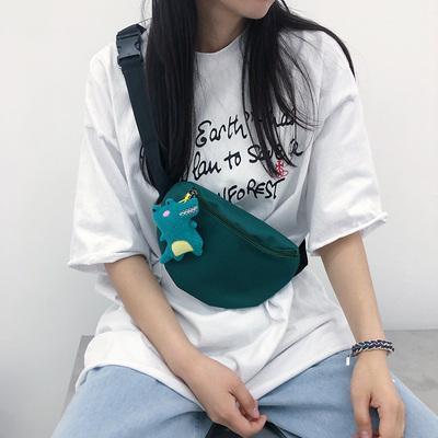 Lovely Cartoon Small Dinosaur Canvas Bag Cross Body Summer Versatile Chest Bag Women New Korean Style Students Simple Japanese Fanny Pack